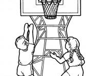 Coloriage et dessins gratuit Basketballeurs en action à imprimer