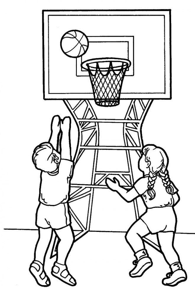 Coloriage et dessins gratuits Basketballeurs en action à imprimer