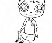 Coloriage Enfant Joue Au Ballon Kawaii Dessin Gratuit à Imprimer