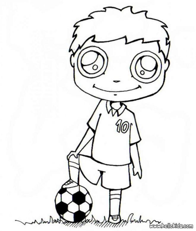 Coloriage et dessins gratuits enfant joue au ballon Kawaii à imprimer