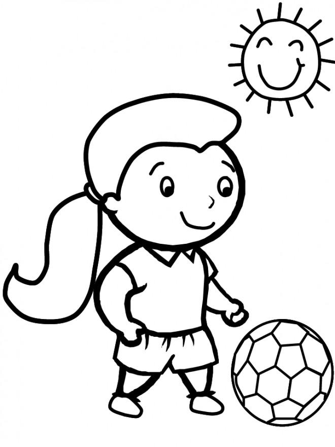 Coloriage et dessins gratuits Fille soccer sous le soleil à imprimer