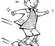Coloriage et dessins gratuit jeune enfant sur son skate à imprimer