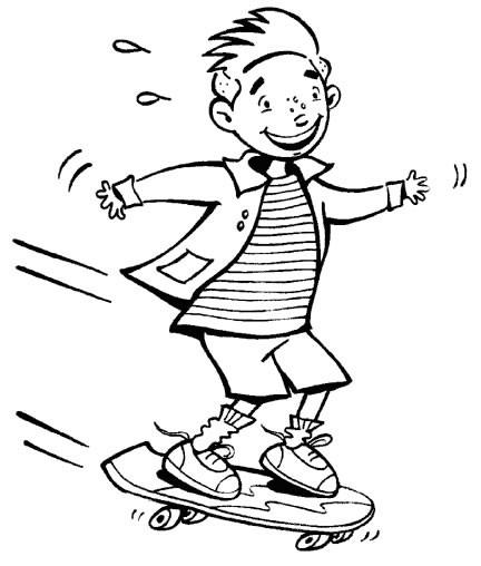 Coloriage et dessins gratuits jeune enfant sur son skate à imprimer