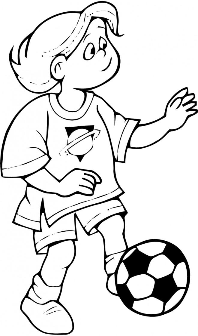 Coloriage et dessins gratuits Jeune footballeur pour garçon à imprimer