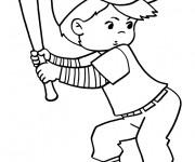 Coloriage et dessins gratuit Joueur de Baseball à imprimer