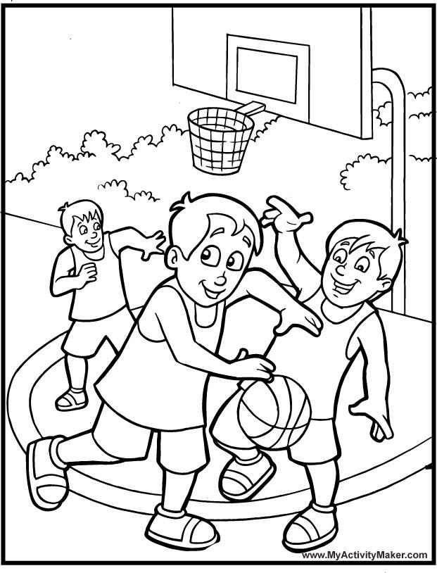 Coloriage et dessins gratuits Les Enfants jouent au basket à imprimer