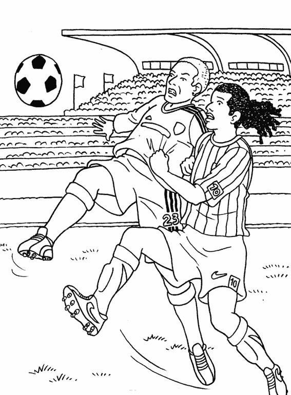 Coloriage Match De Foot Dans Le Stade Dessin Gratuit A Imprimer