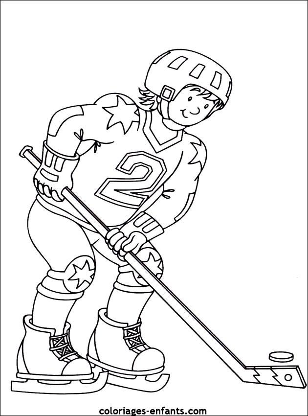 Coloriage sport de hockey dessin gratuit imprimer - Dessin de hockey ...