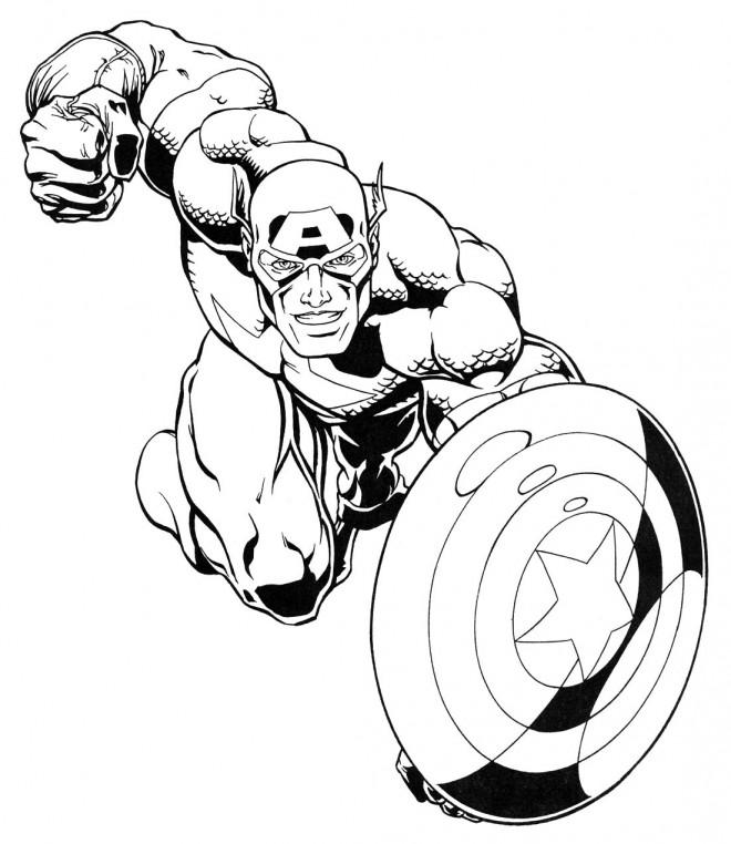 Coloriage et dessins gratuits Avengers Captain America à imprimer