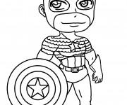 Coloriage et dessins gratuit Captain America Kawaii à imprimer