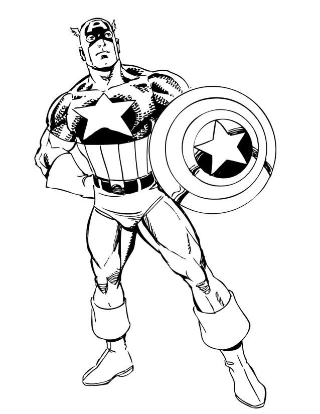 Coloriage et dessins gratuits Héro Captain America à imprimer