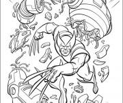 Coloriage Héro Wolverine en Combat