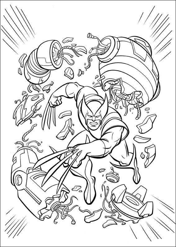 Coloriage et dessins gratuits Héro Wolverine en Combat à imprimer