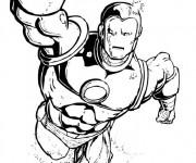 Coloriage et dessins gratuit Iron Man en noir et blanc à imprimer