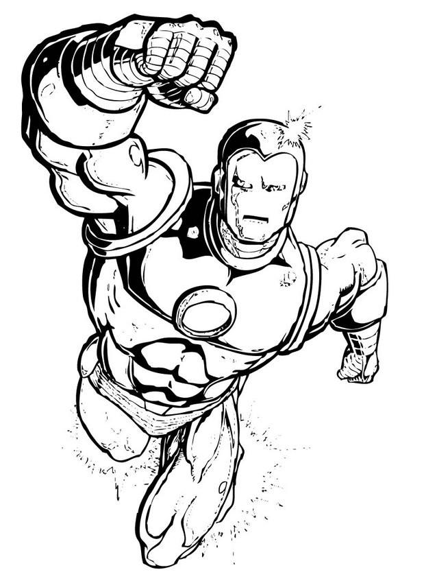 Coloriage et dessins gratuits Iron Man en noir et blanc à imprimer