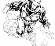 Coloriage et dessins gratuit Iron Man en vol à imprimer