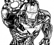Coloriage Iron Man Marvel en noir et blanc