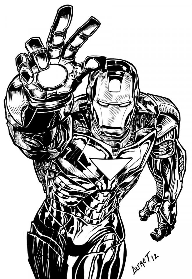 Coloriage iron man marvel en noir et blanc dessin gratuit imprimer - Dessin super heros marvel ...
