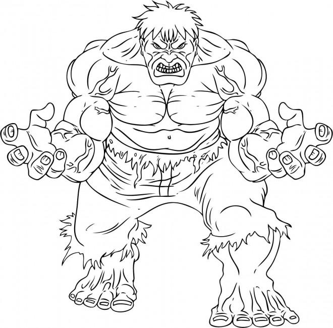 Coloriage et dessins gratuits Super Héros Avengers Hulk à imprimer