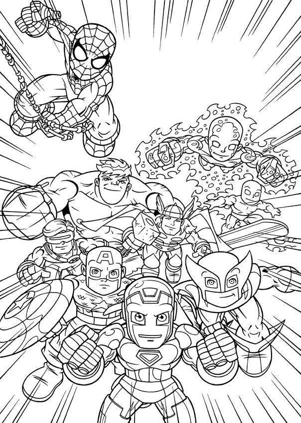 Coloriage Super Heros Et Leur Force Special