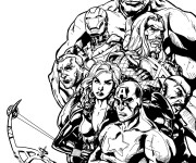 Coloriage Super Héros Marvel regroupés