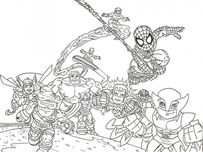 Coloriage et dessins gratuits Super Héros se rassemblent à imprimer