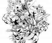 Coloriage Super Héros trés fort