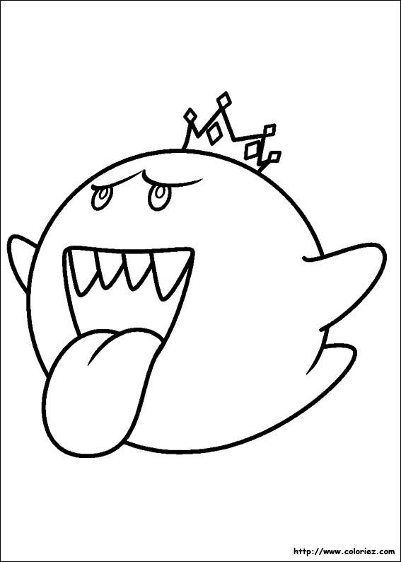 Coloriage et dessins gratuits Boo L'ennemi de  Super Mario à imprimer