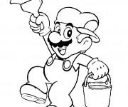 Coloriage Mario Bros et le pinceau