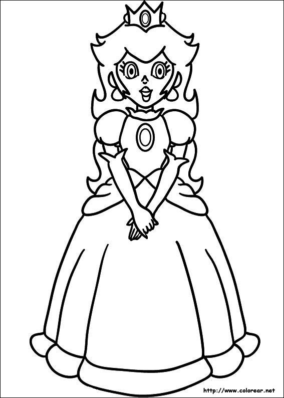 Coloriage et dessins gratuits Princesse Peach stylisé à découper à imprimer