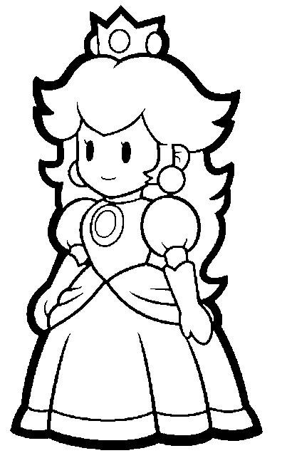 Coloriage Princesse Peach Vecteur Dessin Gratuit à Imprimer