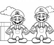 Coloriage Super Héros Mario et Luigi