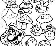 Coloriage Super Mario Bros personnages dessin
