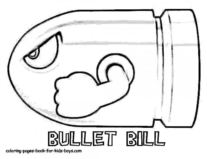 Coloriage Super Mario Bullet Bill Dessin Gratuit A Imprimer