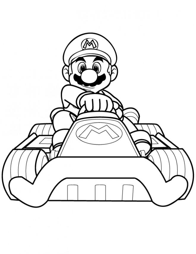 Coloriage et dessins gratuits Super Mario conduit la Voiture de Karting à imprimer
