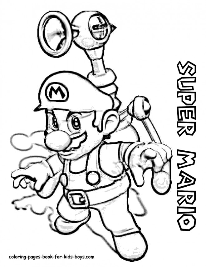 Coloriage Super Mario en noir et