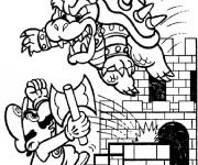 Coloriage Super Mario et Bowser magique