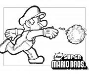 Coloriage Super Mario et Le Ballon Feu