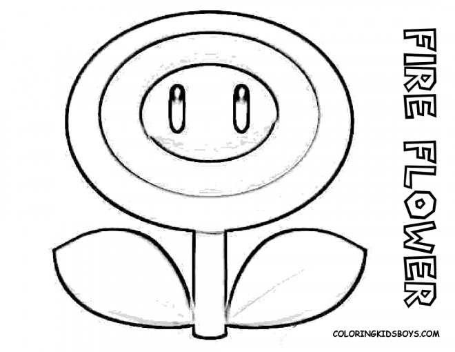 Coloriage Fleur Mario.Coloriage Super Mario Fleur De Feu Dessin Gratuit A Imprimer