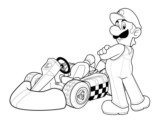 Coloriage et dessins gratuits Super Mario Kart à imprimer