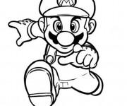 Coloriage Super Mario qui court rapidement