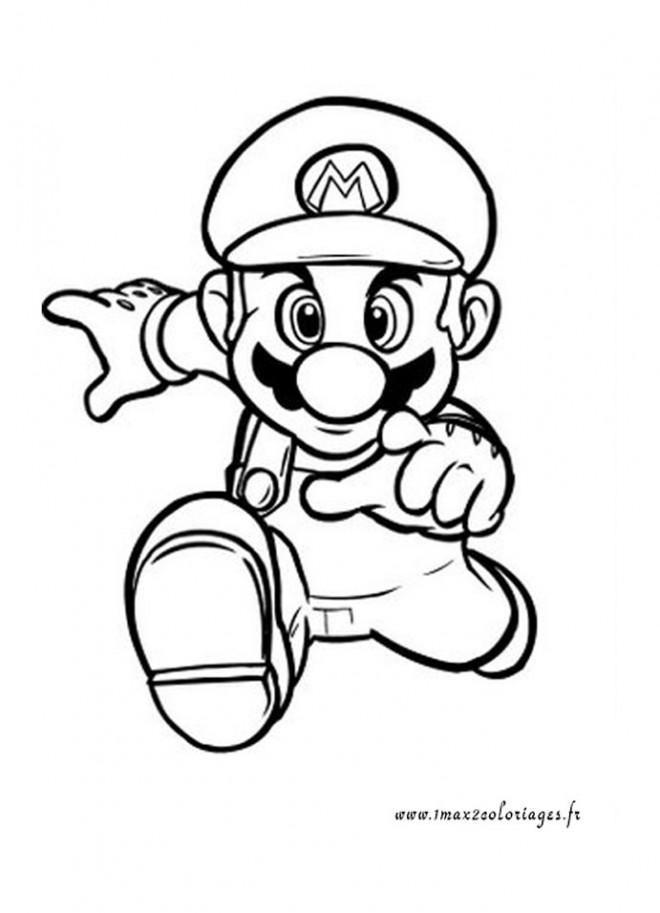 Coloriage et dessins gratuits Super Mario qui court rapidement à imprimer