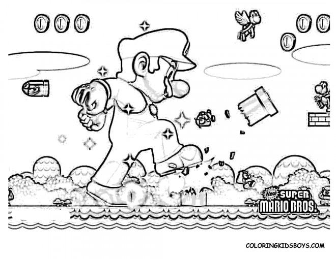 Coloriage super mario r aliste dessin gratuit imprimer - Coloriage de mario et luigi ...