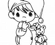 Coloriage et dessins gratuit Bébé Mignon et sa Peluche à imprimer