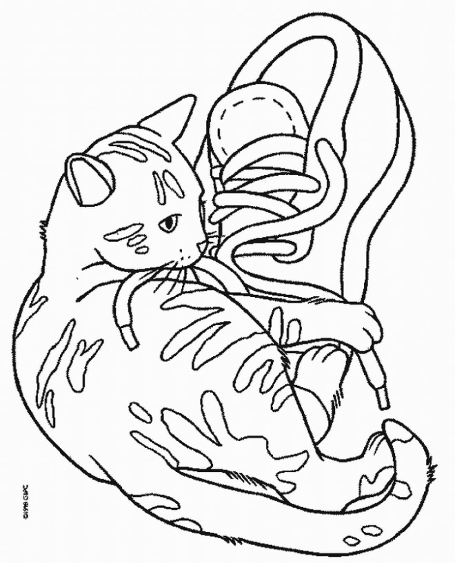 Coloriage chat mignon joue avec les chaussures dessin gratuit imprimer - Coloriage de chiot a imprimer ...