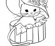 Coloriage et dessins gratuit Chat Trop Mignon portant un chapeau à imprimer