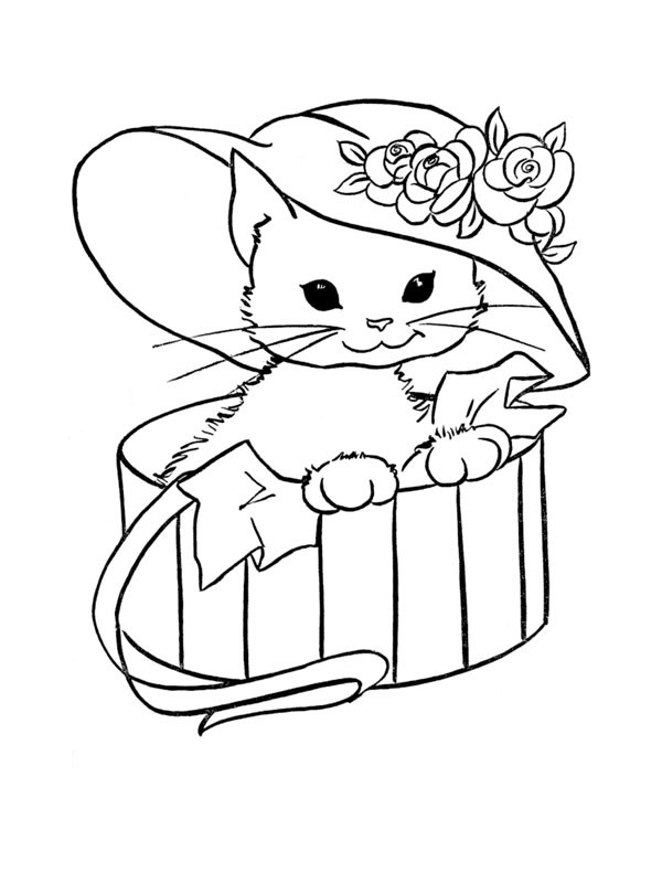 Coloriage Chat Trop Mignon portant