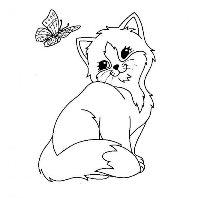 Coloriage et dessins gratuits Chaton Trop Mignon à imprimer