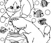 Coloriage et dessins gratuit Chats Trop Mignons et L'aquarium à imprimer