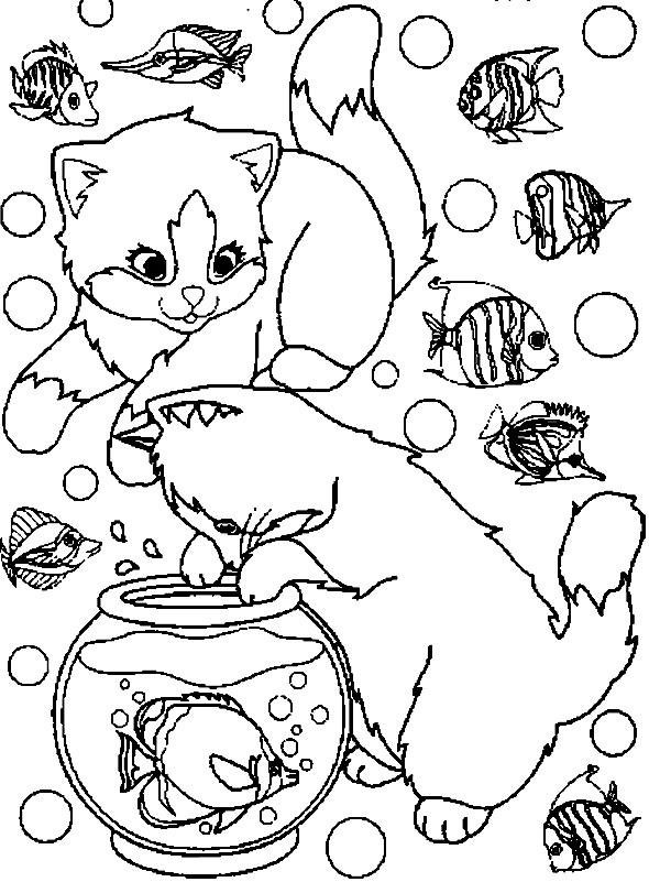Coloriage De Chat Trop Mignon.Coloriage Chats Trop Mignons Et L Aquarium Dessin Gratuit A Imprimer